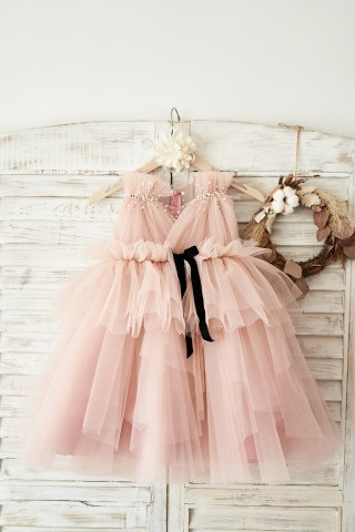 Mauve Tulle V Neck Wedding Flower Girl Dress with Beading