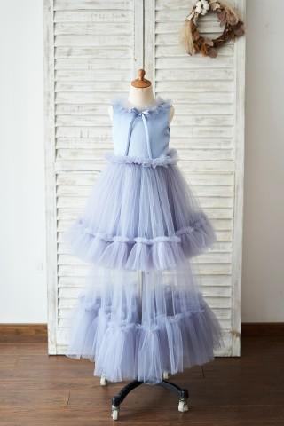 Dusty Blue Satin Tulle Cupcake Wedding Flower Girl Dress