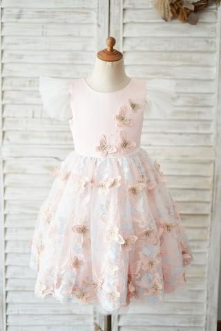 Pink Satin Butterfly Tulle Ruffle Cap Sleeves V Back Wedding Flower Girl Dress