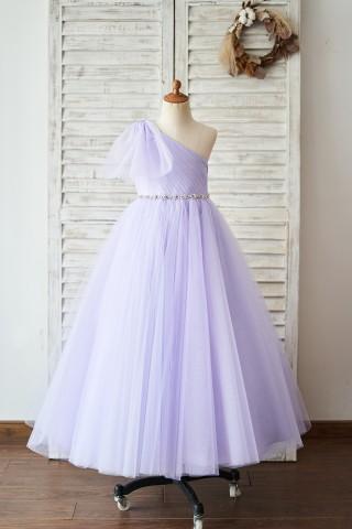 One Shoulder Beaded Lavender Tulle Wedding Flower Girl Dress