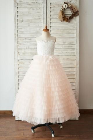 Ivory Lace Peach Pink Cupcake Tulle Keyhole Back Wedding Flower Girl Dress