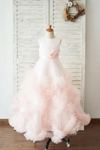 Pink Satin Tulle Keyhole Back Ruffles Wedding Flower Girl Dress