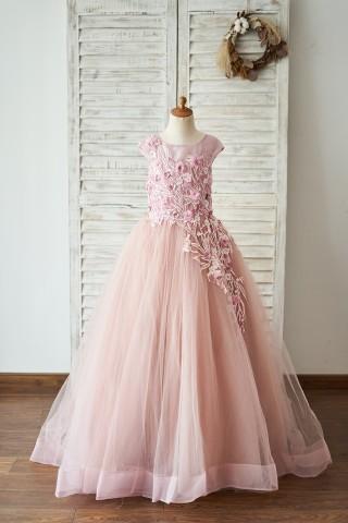 Mauve Lace Tulle 3D Flowers V Back Wedding Flower Girl Dress