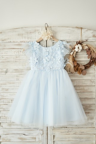 Blue Lace Tulle Cap Sleeves V Back Wedding Flower Girl Dress with Feathers
