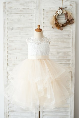 Ivory Lace Champagne Tulle Short Knee Length Wedding Flower Girl Dress
