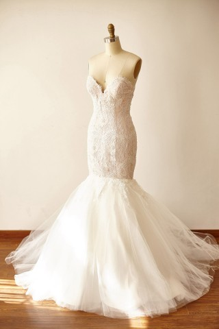 Strapless Sweetheart Ivory Beaded Lace Tulle Pink Lining Mermaid wedding Dress