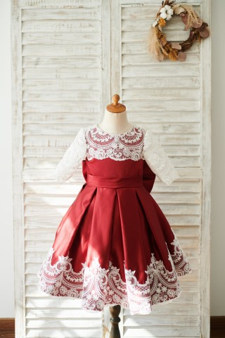 Burgundy Satin Ivory Lace Long Sleeves Wedding Flower Girl Dress with Bow