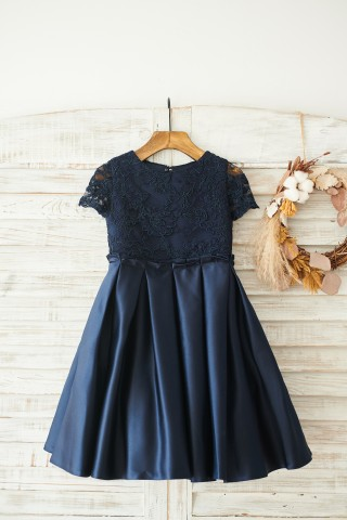 Navy Blue Lace Satin Short Sleeves Keyhole Back Wedding Flower Girl Dress