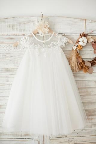 Boho Beach Sheer Neck Ivory Tulle Lace Wedding Flower Girl Dress