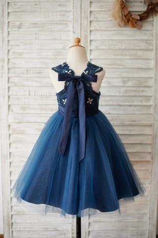 Navy Blue Lace Glitter Tulle Beaded Cross Back Wedding Flower Girl Dress
