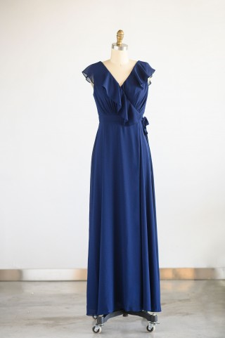 Navy Blue Chiffon Wrap Wedding Bridesmaid Dress