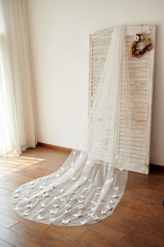 Butterfly 3M Long Cathedral Wedding Bridal Veil