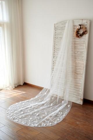 Handmade Petal Flowers Wedding Veil Cathedral Bridal Veil