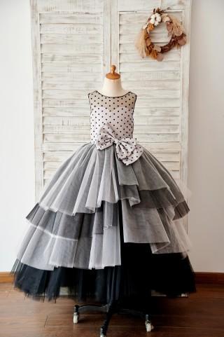 Black Polka Dots Tulle Corset Back Ball Gown Cupcake Wedding Flower Girl Dress