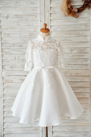 Ivory Lace Satin High Neck Long Sleeves Wedding Flower Girl Dress