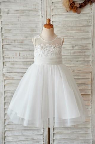 Ivory Lace Tulle Keyhole Back Wedding Flower Girl Dress