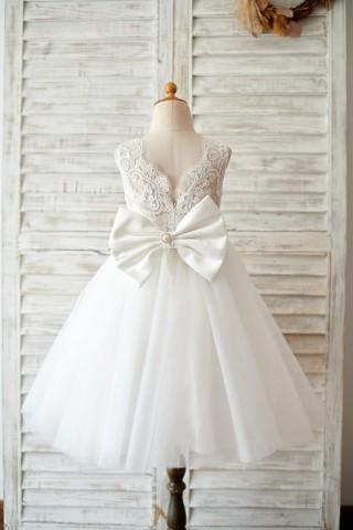 Princess V Back Ivory Lace Tulle Wedding Flower Girl Dress with Big Bow