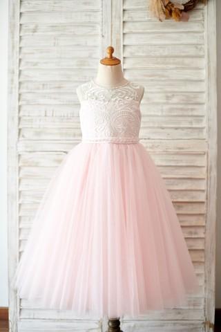Princess Keyhole Back Ivory Lace Pink Tulle Wedding Flower Girl Dress