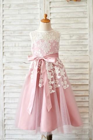 Princess Ivory Lace Mauve Tulle Sheer Neck Wedding Flower Girl Dress