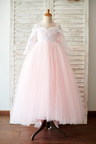 Ball Gown Long Sleeves Pink Lace Tulle Wedding Flower Girl Dress with Train