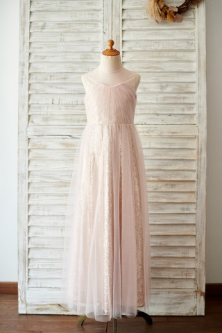 Champagne Sequin Tulle Sheer Neck Wedding Junior Bridesmaid Dress