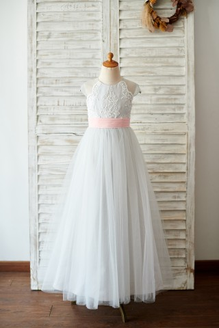 Princess Cap Sleeves Silver Gray Lace Tulle Wedding Flower Girl Dress