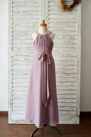 Beaded Mauve Chiffon Wedding Junior Bridesmaid Dress in Floor Length