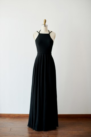 Sexy Lace Up Black Chiffon Wedding Bridesmaid Dress Evening Party Dress