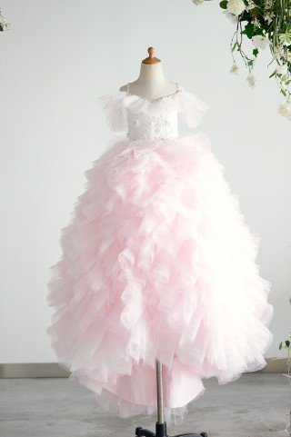 Off Shoulder Pink Polka Dot Lace Tulle Ball Gown Wedding Flower Girl Dress