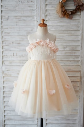 Illusion Champagne Tulle Feathers Wedding Party Flower Girl Dress