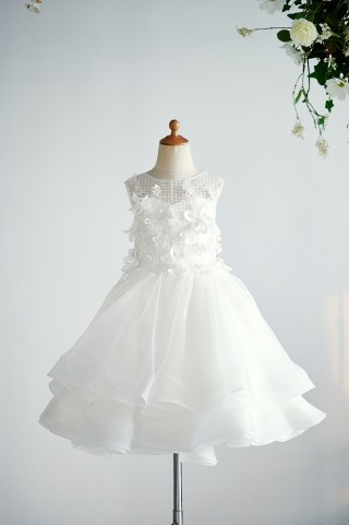 Ivory Organza Lace Wedding Party Flower Girl Dress with 3D Flowers / Pearls