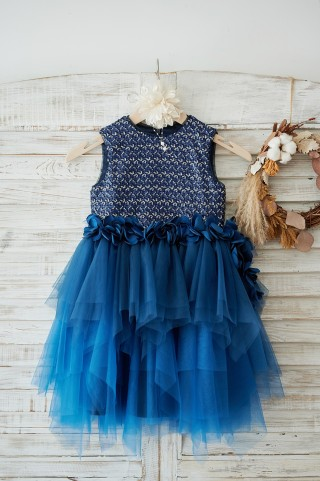 Navy Blue Sequin Tulle Wedding Flower Girl Dress with 3D Flowers