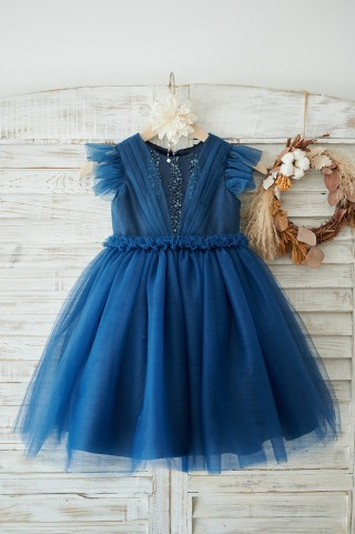 Navy Blue Glitter Tulle Cap Sleeves Beaded Wedding Flower Girl Dress