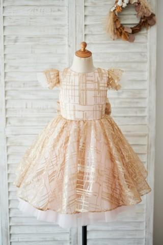 Princess Cap Sleeves V Back Pink Tulle Champagne Sequin Wedding Flower Girl Dress