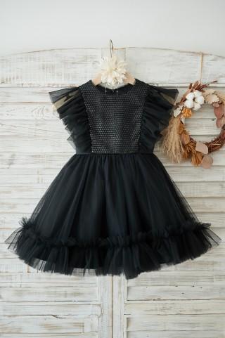 Black Sequin Tulle Ruffle Sleeves Wedding Flower Girl Dress