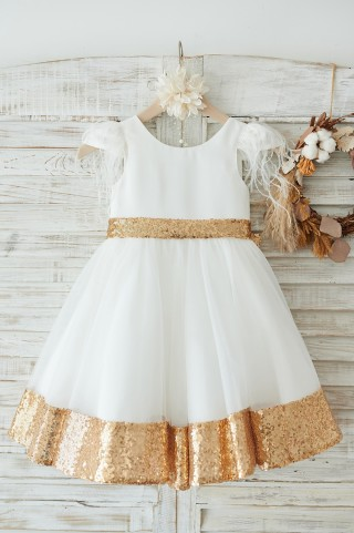 Ivory Satin Tulle Gold Sequin Cap Sleeves Flower Girl Dress with Feather