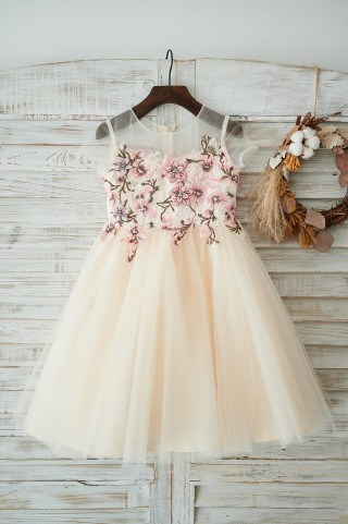 Champagne Tulle Cap Sleeves Wedding Flower Girl Dress with Embroidery Lace