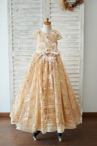 Cap Sleeves V Back Gold Sequin Tulle Wedding Flower Girl Dress