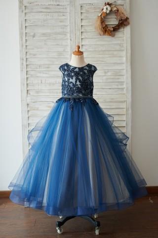 Navy Blue Tulle Organza V Back Wedding Flower Girl Dress with Beading