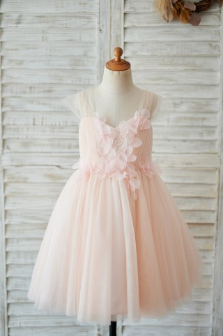 Strap Blush Pink Lace Tulle Wedding Flower Girl Dress with Beading
