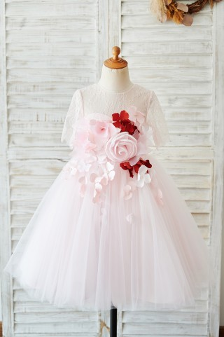 Pink Lace Tulle 3D Flowers Elbow Sleeves Sheer Back Wedding Flower Girl Dress