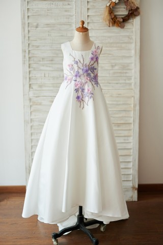 Square Neck Ivory Satin Wedding Flower Girl Dress with Embroidery Lace