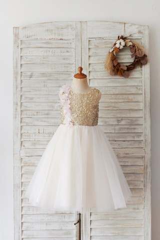Champagne Sequin Tulle V Back Wedding Party Flower Girl Dress