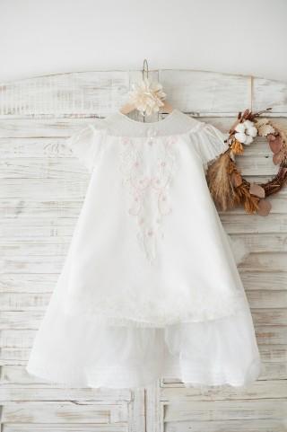 Ivory Polka Dot Lace Tulle Cap Sleeves Open Back Wedding Flower Girl Dress