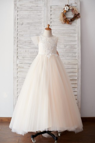 Ivory Lace Champagne tulle Ruffle Sleeves Sheer Back Wedding Flower Girl Dress