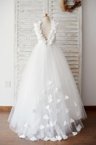 Backless Lace Tulle Wedding Flower Girl Dress with Pearls