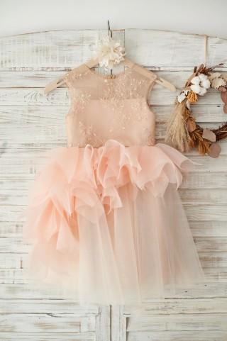 Lace Tulle Organza Ruffle Wedding Flower Girl Dress