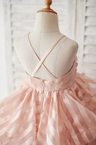 Peach Pink Stripe Organza Spaghetti Straps Wedding Flower Girl Dress
