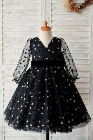 Black Gold Star Tulle V Back Long Sleeves Wedding Flower Girl Dress