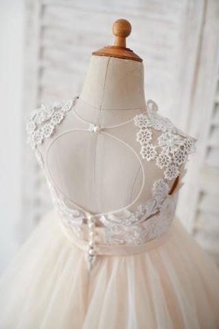 Champagne Tulle Ivory Lace Keyhole Back Wedding Flower Girl Dress